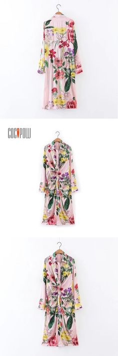 women  ZA vintage floral striped long shirt dress long sleeve turn down collar pleated blouses casual tops blusas