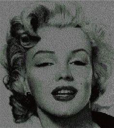 points de croix marilyn monroe | Esquema de Punto de Cruz descargable sobre el rostro de Marilyn Monroe