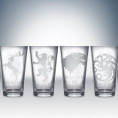 Game of Thrones Pint Glasses. I think I need this. This website has tons of geeky decor!