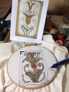 March 2015 Bird In The Hand Primitives New Punch Needle Design Fraktur Tulips