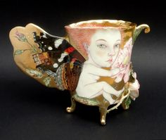 """porcelain Art NEW__ IRINA Zaytceva """"""""""""Rose bird & Butterfly"""""""" cup"""