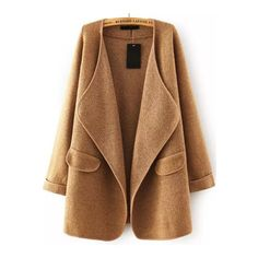SheIn(sheinside) Khaki Lapel Long Sleeve Loose Sweater Coat (110 PLN) via Polyvore featuring khaki