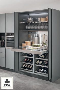 Kitchen Furniture, Interior Design Living Room, Interior Design Kitchen, Kitchen Pantry Design, Modern Kitchen Design, Kitchen Living, New Kitchen, Home Cocktail Bar, Home Bar Cabinet