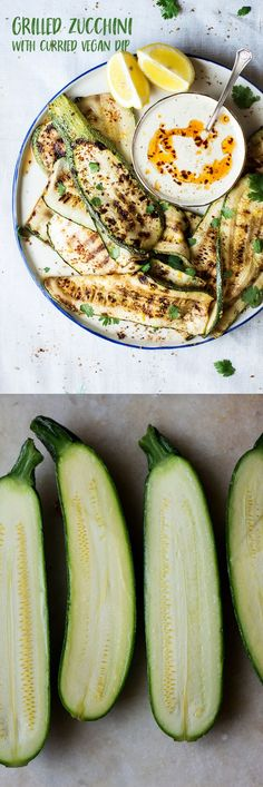 Spicy grilled zucchini with a curried dip is a simple vegan dish that makes a great vegetarian BBQ dish. Summery, dead easy to make and very versatile. Zucchini Curry, Grilled Zucchini, Grilled Veggies, Best Vegan Recipes, Vegan Dinner Recipes, Vegan Snacks, Healthy Recipes, Bbq Vegetarian, Vegan Grilling