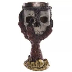 Stainless Steel Gothic Goblet Halloween Party Drinking Glass 3D Skull Skeleton Claw Punk Style