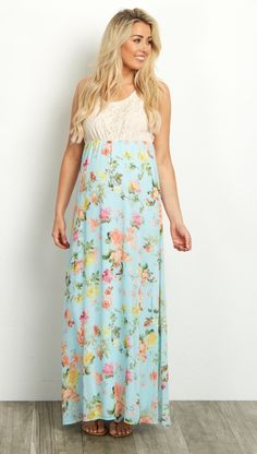 The perfect maternity maxi dress for all your events this year. A crochet racerback top and flowy chiffon bottom will keep you cool when the weather is warm, while cinching under the bust shows off your belly each week. Throw on a pair of strappy sandals for a complete look for any occasion.