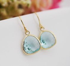 Aquamarine Drop Earrings Bridesmaid Jewelry by dreamjewelbox, $16.00