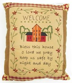 "42358W - Welcome pillow   Size: 10""Lx12""H     $ 12.50"