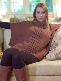 My kind of style, a great little poncho pullover with those boots, perfect for weekends!  Leaflets by Diamond Luxury Collection | Diamond Yarn
