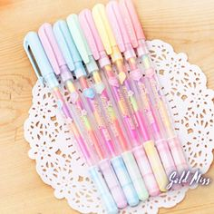Cute colored gel pens 6 colors roll pen for kids Kawaii stationery Escolar office material school supplies Stationery Pens, School Stationery, Kawaii Stationery, Stationery Store, Highlighter Pen, Highlighters, Cute Pens, Pen Collection, Gel Ink Pens