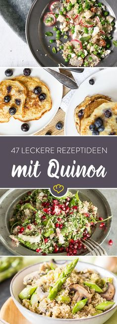 Zum Frühstück, im Salat oder als Auflauf - Quinoa ist das neue Superfood! For breakfast, in a salad or as a casserole - quinoa is the new superfood! So get on the grain and try these 47 quinoa recipes. Summer Salad Recipes, Veggie Recipes, Mexican Food Recipes, Great Recipes, Vegetarian Recipes, Healthy Recipes, Summer Salads, Drink Recipes, Couscous Quinoa