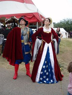 Renaissance / Tudor/ Medieval Superman and Wonder Woman - with article and more photos!  http://www.impact-books.com/comics/renaissance-superman-and-wonder-woman-cosplay