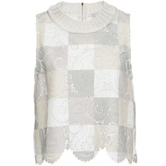 Sea     Patchwork Lace Top (€130) ❤ liked on Polyvore featuring tops, ivory, sea, new york, lace sleeveless top, patterned tops, scallop hem top and ivory sleeveless top