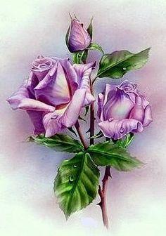 chest of drawers Victorian Flowers, Vintage Flowers, Art Floral, Watercolor Flowers, Watercolor Art, Vintage Rosen, Rose Art, Flowers Nature, Botanical Art