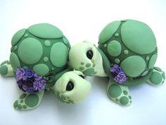 Pareja de tortugas en porcelana fria