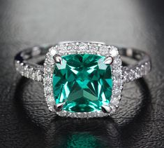 VS 8mm Cushion Cut EMERALD Ring & Diamond Halo in14K by TheLOGR, $549.00