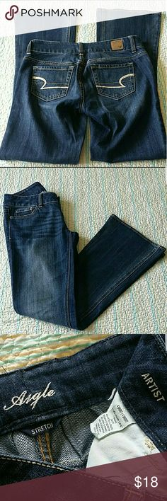 NWOT Throwback AE Artist Jeans These jeans are new without tags. I purchased new from another posher and sadly they are a bit too big for me. They are a 4 short standard stretch (approx 30 inches from inseam to bottom cuff and almost 16 inches across the waistline). NOT SUPER STRETCH. In perfect condition. Store doesn't sell these anymore. American Eagle Outfitters Jeans Boot Cut