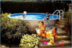 above ground pool deck with slide - Google Search