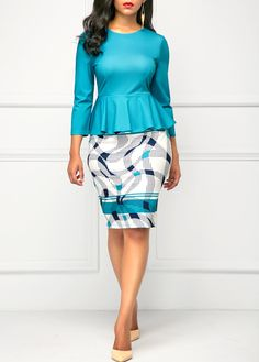 Cheap sheath Dresses online for sale Cute Dresses, Beautiful Dresses, Dresses For Work, African Wear, African Dress, Look Fashion, Fashion Outfits, Womens Fashion, Peacock Blue Dress