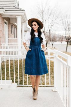 2cfe07af41 Denim overall dress Adjustable shoulder straps (can be worn straight or  crossed as shown) Side pockets Banded waist (x-small  small  medium  large   Side ...