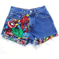 100% Authentic Levi's Vintage. Custom Handmade Super Hero Patched Jean Shorts. Show your Marvel Comic love with these 100% cotton t-shirts. A Custom made Super…