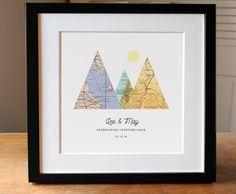 Abenteuer gemeinsam Geschenk für Paar, 3 Custom Map Berg Print, personalisierte…