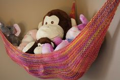 """toy hammock for stuffed animals . perfect for Jason's """"kids"""" :) toy hammock for stuffed animals … perfect for Jason's """"kids"""" 🙂 Organizing Stuffed Animals, Stuffed Animal Hammock, Toy Hammock, Hammock Ideas, Monkey Pictures, Restoration Hardware Baby, Animal Bag, Hanging Fabric, Kids Room Paint"""