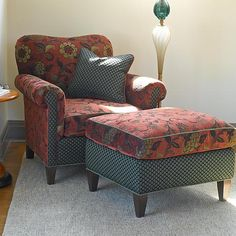 Molly Rose Chair and Ottoman in Russet: Mary Lynn O'Shea: Upholstered Chair & Ottoman - Artful Home