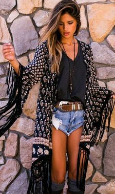 Boho chic ringed kimono and cut off jean shorts for a modern hippie boho chic allure.. For the BEST Bohemian fashion trends FOLLOW https://www.pinterest.com/happygolicky/the-best-boho-chic-fashion-bohemian-jewelry-gypsy-/ now
