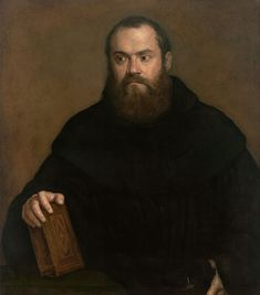 Titian (Tiziano Vecellio), c.1485/90?–1576, Italian, A monk with a book, c.1550. Oil on canvas, 84.5 x 74.5 cm. National Gallery of Victoria, Melbourne. Mannerism.