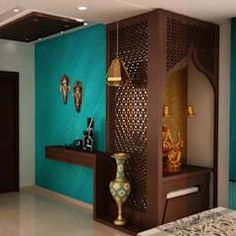 Asian classic style foyer with puja area: corridor & hallway by nvt quality build solution - Couloir Indian Home Interior, Asian Home Decor, Home Interior Design, Interior Doors, Living Room Partition, Room Partition Designs, Pooja Room Door Design, Foyer Design, Bed Design