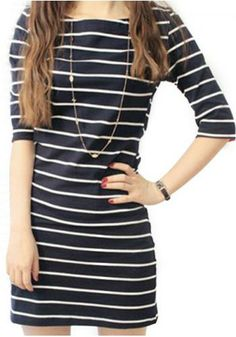 Preppy style stripe pattern half sleeve slim women's dress