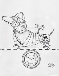 victorian daschunds   Steampunk Clockwork Dachshund WIP by EpHyGeNiA