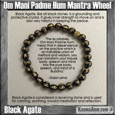 Mala Yoga bracelet - meditation meaning – mens womens charm chakra beaded stacks. Black Agate.