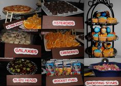 Different food ideas for space party.