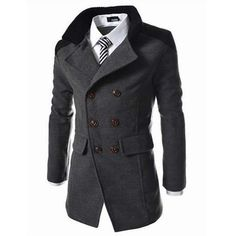 s Solid Double Breasted Mid-Long Thicken Trench Coat ($35) ❤ liked on Polyvore featuring men's fashion, men's clothing, men's outerwear, men's coats, jackets, darkgray, mens fur collar coat, mens long coat, mens double breasted coat and mens long trench coat