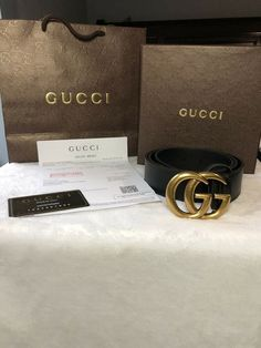 feb7dfa873d (eBay link) Brand New Women s Large Double GG Buckle Gucci Leather Belt  Size 110
