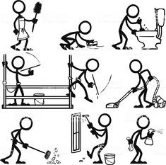 Stick Figure Peoples Cleaning many different things. Doodle Drawings, Cartoon Drawings, Easy Drawings, Doodle Art, Stick Figure Animation, Stick Figure Drawing, Tattoo Painting, Visual Note Taking, Caricatures