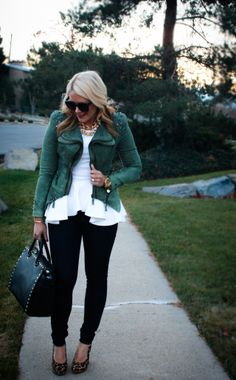 Fashion blogger, Abby, sporting a peplum top she scored on MyHabit. (We're totally stealing this outfit idea.)