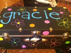 Gracie. Painted camp trunk