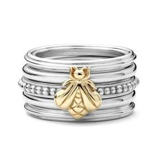 SLANE Column Bee Free Stackable Rings, 5 Ring Set - Size 7