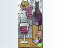 stained glass patterns wi.e and grapes | Stained glass kitchen cabinet pattern of wine glass, wine bottle and ...