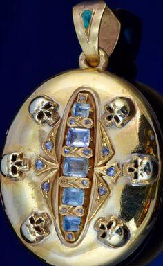 Victorian 18k Gold,Diamond&Tourmalines MEMENTO MORI SKULLS locket pendant