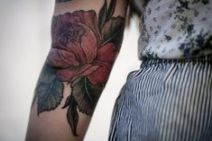 dusty rose tattoo by alice carrier