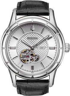 Bulova 96A111 Mens Watch Automatic Silver Tone Dial Skeleton Display Black Leather Strap