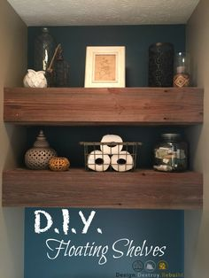 DIY Reclaimed Wood Floating Shelves.  Easy step by step tutorial to create your own floating shelves!