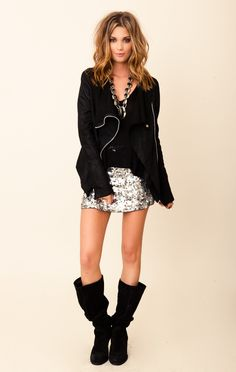 Blu Moon Gunmetal Sequin Skirt