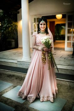 Real Indian Weddings - Pranay and Kriti | WedMeGood | Dusky Pink Satin Light…