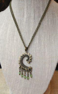 Antique Brass Decorative Drop Pendant Necklace by McHughCreations, $22.95