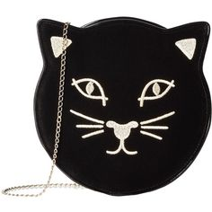 Charlotte Olympia Pussycat Purse (Black Velvet) (1.936.935 COP) ❤ liked on Polyvore featuring bags, handbags, chain strap purse, zipper purse, embellished purses, handbag purse and strap purse